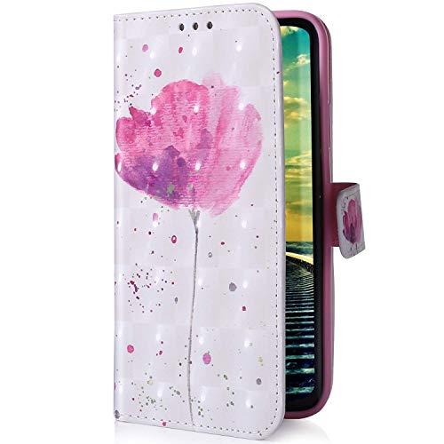 Uposao Kompatibel mit Samsung Galaxy A20 / A30 Handyhülle Glitzer Bling 3D Bunt Leder Hülle Flip Schutzhülle Handytasche Brieftasche Wallet Bookstyle Case Magnet Ständer Kartenfach,Rosa Blumen