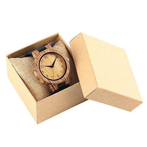 Yxxc Wooden Watch Minimalist Arabic Numerals Dial Wood Watch Men Casual Quartz Men's Watches Wooden Timepieces Black Soft Leather Clock Gift