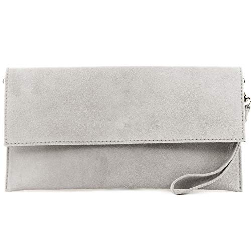 modamoda de - T151/M151 - ital. Clutch Wildleder/Leder Metallic, Farbe:Grau