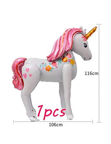 ZLJTT 27 Piezas Grandes Globos de Unicornio 3D Globo de látex de Metal Unicornio Fiesta temática Baby Shower Decoraciones de Fiesta de cumpleaños Juguetes para niños favores, 1 Piezas Unicornio 3D