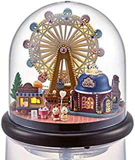 DNNY DIY Handmade Creative Room Miniature Dollhouse House Kit Furniture Wooden Ball Model Dollhouse Toy Gift for Kids 1:24 Scale Dollhouse (Happiness Ferris Wheel)