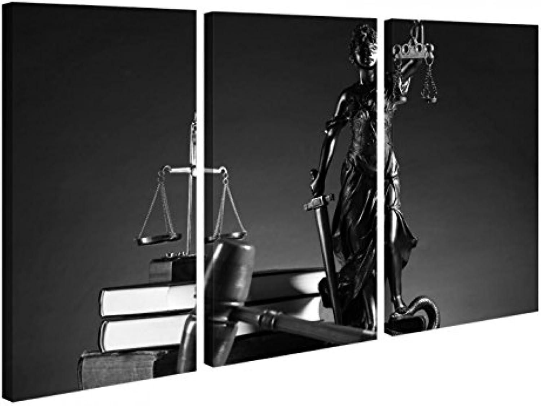 Leinwandbild 3 Tlg Anwalt Symbol Symbol Symbol Justitia Hammer Gerichtssaal Schwarz weiß Leinwand Bild Bilder Holz 9P1057, 3 tlg BxH 90x60cm (3Stk 30x 60cm) B01NACG6JW cb3591
