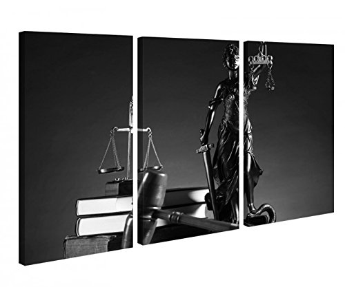 Leinwandbild 3 Tlg Anwalt Symbol Justitia Hammer Gerichtssaal Schwarz weiß Leinwand Bild Bilder Holz 9P1057, 3 tlg BxH:120x80cm (3Stk 40x 80cm)