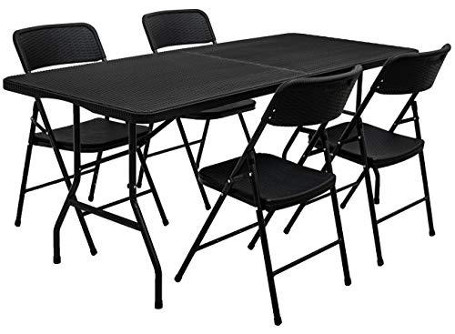 AMANKA 150kg Garten Sitzgruppe 180 cm Tisch Rattan-Optik Wetterfest Gartenmöbel Set mit 4 Stühlen