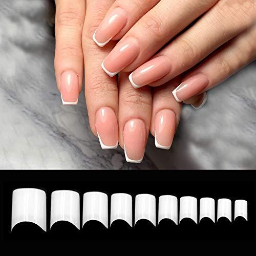 Vivid Stella 600 Faux Ongles Demi-couverture blanche Courte Français Faux Ongle de Acrylique Kit Capsules Ongles Artificielle Faux Ongles pour Les Salons de manucure Bricolage Nail Art