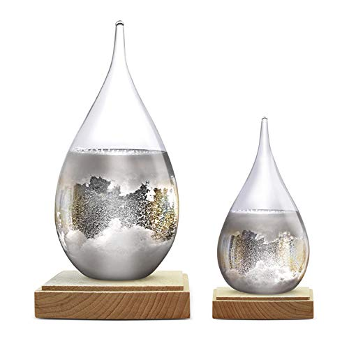Constantinople Storm Glass Weather Predictor - Weather Glass Predictor 2 in 1 Set   Unique Office and Home Decor   Weather Predicting Storm Glass   Large and Small Decorative Weather Forecaster Glass