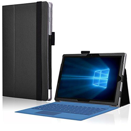 UC-Express ndash; Cover Microsoft Surface PRO 3 con Pratica Funzione di Supporto, in Ecopelle, Resistente e di Design, Colore Nero