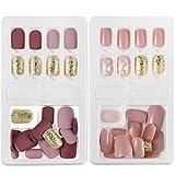 Künstliche Fingernägel, falsche kurze Nägel, 60 Stück, Nagelspitzen-Set, 12 Größen in 2 Boxen,...