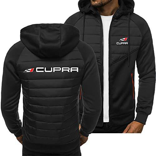 BALENOEY-H Vestes Hooded Cardigan Zip Seat Cupra Impression Décontractée Mince Sweat-Shirt Garçons Jeunesse Haut Extérieur/Noir/L