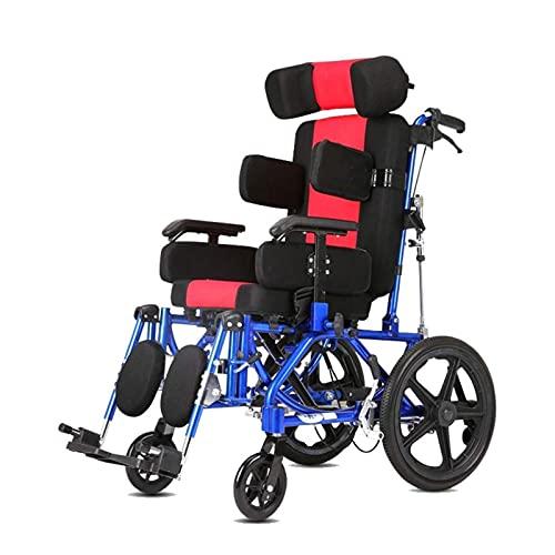 FGVDJ Coche para Silla de Ruedas para Adultos/niños con parálisis Cerebral, Carro reclinable Plano Completamente acostado en ángulo Ajustable con Cinturones de segu