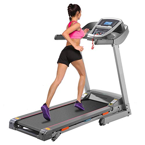 Caroma Folding Treadmill for Home with Incline, 3.0 HP Electric Treadmill 300 lb Capacity, 9 MPH Running Machine with Shock Absorber, Bluetooth Speaker & LCD & Pulse Monitor, APP Control, 12 Programs
