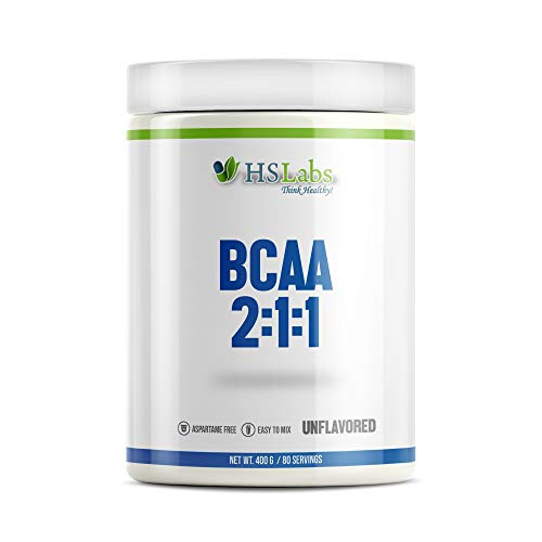 HSLabs BCAA 2 1 1 Powder Amino Drink Amino Acids Complex High Dose Drink with Leucine Isoleucine Valine Great Taste and Neutral Unflavoured 400g 200g 40 80 Servings (Unflavored, 400g)