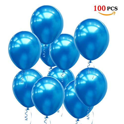 O-Kinee Globos Azules,100 Piezas Azul Globos Helio Latex Perla Ø 30 cm para Bebe 1 Año Cumpleaños,Niño Bautizos Comunion Baby Shower Azul,Bodas Aniversario Graduacion Fiesta Arco Decoracion