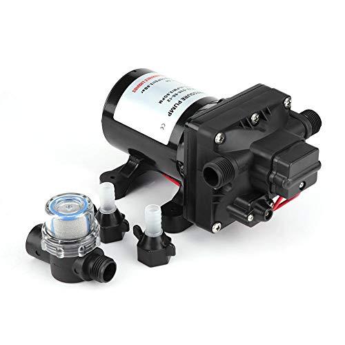 30 psi / 3,1 bar max Druckpumpe, 12 V DC Schwarz Wasserpumpe für RV, Druckwassepumpe aus PVC und Kupfer 26.4 x 14.3 x 13 cm