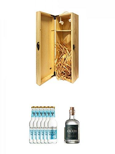 1a Whisky Holzbox für 1 Flasche mit Hakenverschluss + Fever Tree Mediterranean Tonic Water 6 x 0,2 Liter + Amato Gin Deutschland 0,5 Liter