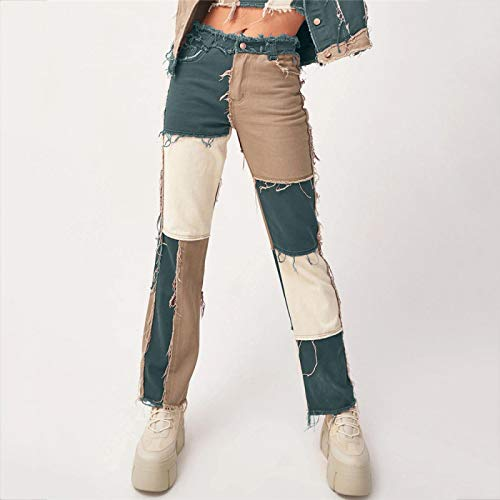 Pantalones Jeans Patchwork Skinny Straight Leg Jeans Woman High Waist with Pockets Sexy Color Block Ladies Jeans Trousers Denim Blue Pants XS Green(Notdenim)