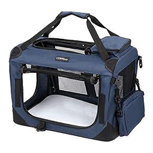 LEMAIJIAJU Caisse de Transport Cage de Transport Pliable Sac de Transport pour Chien et Chat Animal Tissu Oxford Bleu Foncé