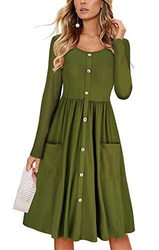 JIER Damen Langarm Knopf Maxikleid mit Tasche V-Ausschnitt Kleid Partykleid Elegant Solide Cocktailkleid Abendkleid Strandkleid Blusekleid Wickelkleid Lange Kleid (Armeegrün,Small)