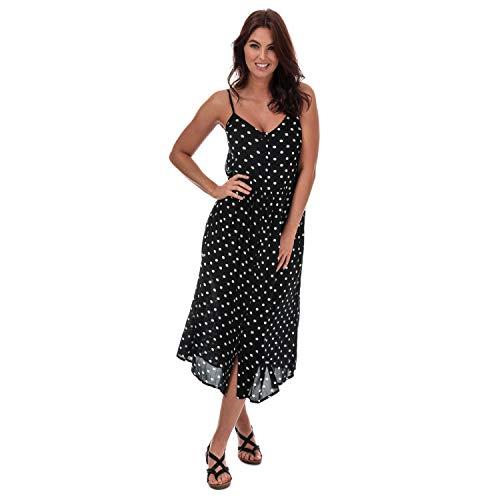 Vero Moda Damen Midi-Kleid, Schwarz / Weiß Gr. 36, Schwarz