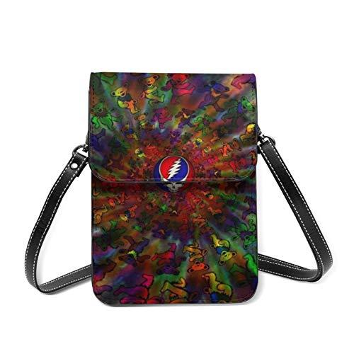 XCNGG Telefontasche Gra-teful Dead Spiral Bears Dye Women Lightweight Leather Phone Purse, Small Crossbody Bag Mini Cell Phone Pouch Shoulder Bag,Wallet Purse