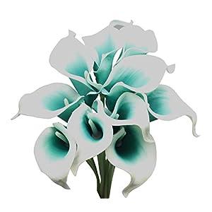 ALIERSA En Ge 10-Heads Artificial Flowers Bouquet PU Reach Touch Calla Lily(Dark Teal in White)