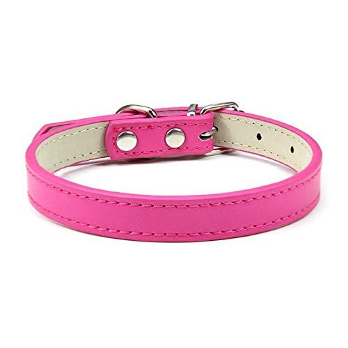 LWXFXBH Collar ajustable para mascotas Collar de gato y perro Collar de cuero para mascotas (color: rojo rosa, tamaño: L)
