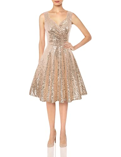 GRACE KARIN Women's Sexy Sequin Pleated Club Party Wedding Dress Size XL Rose Gold CL061-2