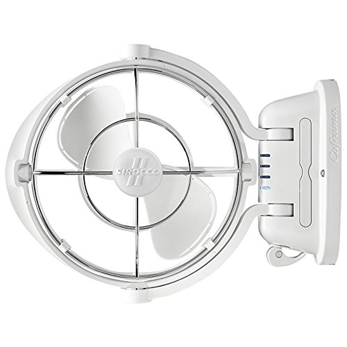 Caframo Sirocco II. Mounted Fan. 360 Airflow. Ultra Quiet, 12/24V Compatible. White.