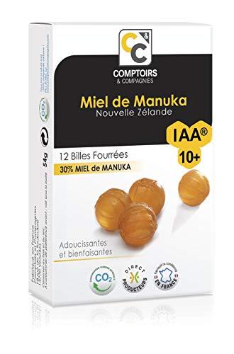 COMPTOIRS ET COMPAGNIES | 12 BILLES FOURREES MIEL DE MANUKA ACTIF | IAA10+ (MGO263+) | IDEALES POUR LA GORGE
