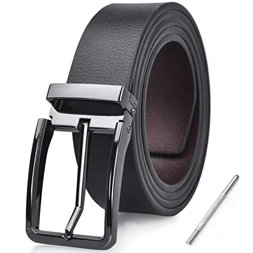 NUBILY Cinturon Hombre Cuero Negro Marrón Jeans Reversible Piel Cinturón para Hombres Clásico Negocios Casual Trabajo Traje Hebilla Cinturones 115CM