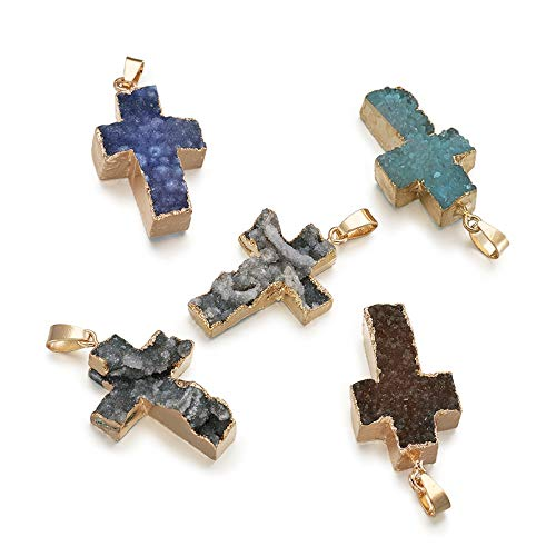 Fashewelry 5Pcs Cross Shaped Natural Druzy Agate Stone Pendants Mixed Colors Healing Crystal Gemstone Bead Charms with Brass Edge for Necklace Earring Bracelet Making