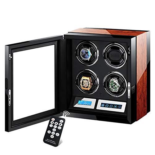 LJP Caja de almacenamiento de la devanadera del reloj de rotación automática Smart Touch con motor silencioso 5 modo de rotación (funda de madera ajustable de cuero almohada)