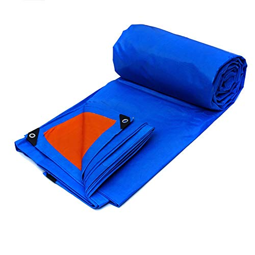 JD Bug dekzeil voor dekzeilen Tarpaulin luifel Duurzaam dekzeil Dubbelzijdig waterdicht dubbelzijdig gordijn Parasol Sun luifel - Blauw, 155G / M2 (Kleur: ORANGE, Maat: 6 * 4m)