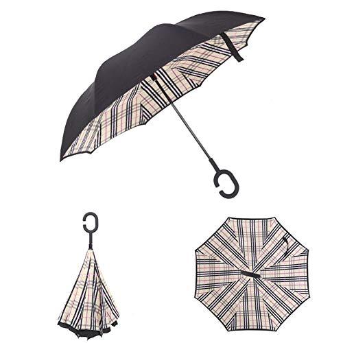 Regenschirm, winddicht, umgekehrt, zusammenklappbar, doppelschichtig, umgekehrt, Regenschutz, C-Haken, Hände für Auto Farbe prüfen Check color