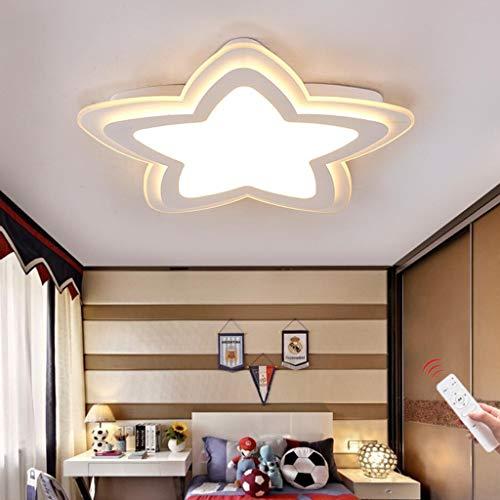 WJLL Moderno LED Lámpara de Techo Cuarto de los Niños Luz de Techo Regulable con Control Remoto Forma de Estrella Diseño Plafón de Dormitorio de Niña/Chico Iluminación Acrílico Pantalla,Blanco,52cm