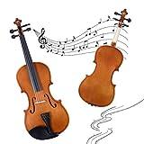 GOPLUS Geige aus Holz, Violine 4/4 für Anfänger, Studenten, Lernende und Musikliebhaber, Set: Koffer, Schleife, Kolophonium, Saiten, Griffbrettaufkleber, Farbewahl (Braun)
