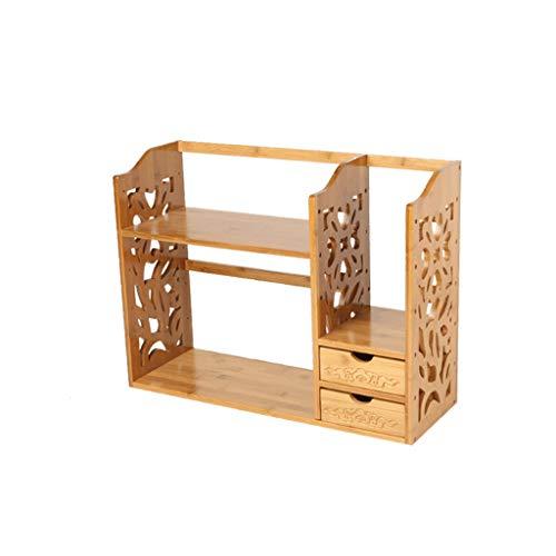 Bambú Escritorio pequeño Estante Simple Estante Sólido Madera Sólido Oficina Escritorio Acabado Almacenamiento Estante Creativo Antiguo Pequeño Librería (Color : B, Size : 2)