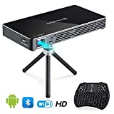 VANKYO Passport M50 DLP Smart Mini Portable Projector, 100 ANSI Lumens w/Andriod 7.1 OS Pre-Installed, WiFi, HDMI, USB, and Micro SD Ports with Free Mini Wireless Keyboard and Tripod