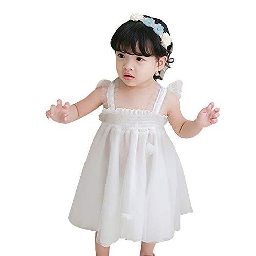 Mornyray ベビーチュチュスカート チュールワンピース 女の子 ベビー服 吊りスカート 夏 ふんわり 子供服 ガールズ 可愛い プリンセス風 誕生日祝い 結婚式 ホワイト 90cm