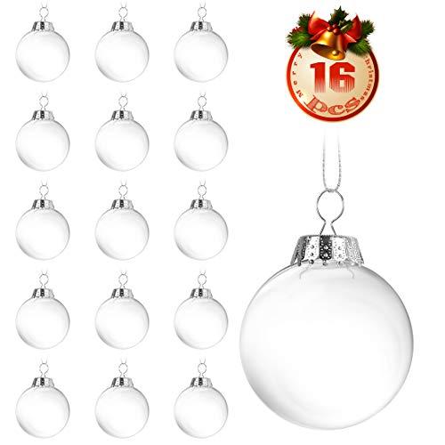 O-Kinee Klar Weihnachtskugeln,16 pcs Befüllbare DIY Christbaumkugeln aus Plastik,Durchsichtige Kunststoffkugeln,Weihnachtskugeln Baumschmuck,Weihnachten Deko zum Befüllen als Christbaumschmuck