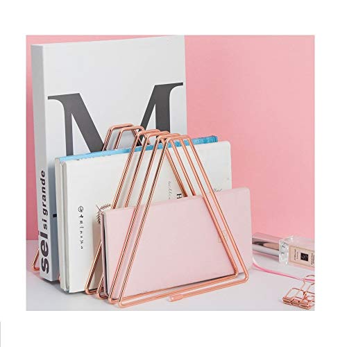 Files Folder Stand Desktop File Organizer,Triangle Copper Wire Book Shelf Magazine Rack, File Sorter Eye-catching Decoration for Indoor Office Home, Photography Props, Fashion (Rose Gold)