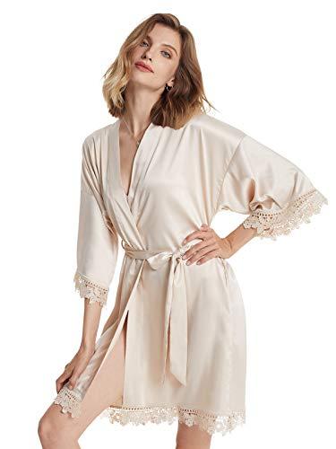 AW BRIDAL bata de kimono de satén corta para mujer, batas de dama de honor, batas de boda para novia, camisón de dormir con adornos de encaje, concha dorada grande
