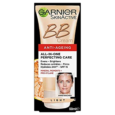 Garnier BB Cream Anti Ageing Light Tinted Moisturiser SPF 15, Brightening & Firming Anti Wrinkle Cream with Mineral Pigments 50 ml from Loreal