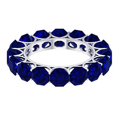 Anillo de eternidad creado en el laboratorio de zafiro azul vintage, 5 mm corte octágono azul, anillo de eternidad completo, aniversario de boda, 18K Oro blanco, Size:EU 69