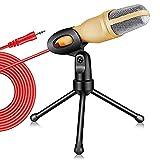 RUMUI Microfono a condensatore Spina da 3,5 mm Microfono Stereo Domestico con treppiede da Tavolo per PC Registrazione di Podcast di Videogiochi su Youtube