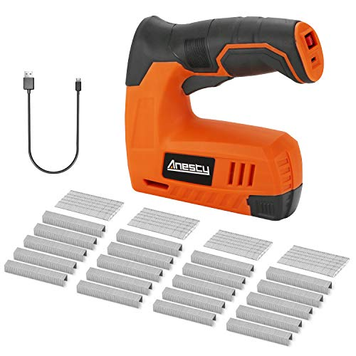 Cordless Staple Gun, 2in1 Electric Stapler & Nailer, Rechargeable Stapler/Tacker, with 2000pcs 10mm Nails and 2000pcs 10mm Staples [Small, Lightweight, Compact]