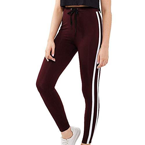 Xmiral Leggings Donna Fitness Pantaloni Cinturino con Coulisse da Donna Strisce Laterali Bianche Pantaloncini da Yoga Slim Fitness ad Asciugatura Rapida S Vino