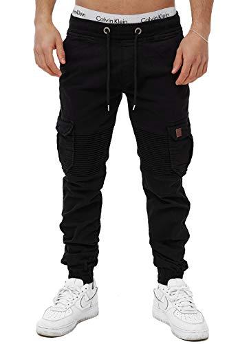 OneRedox Herren Chino Pants Jeans Joggchino Hose Jeanshose Skinny Fit Modell H-3414 Schwarz 29