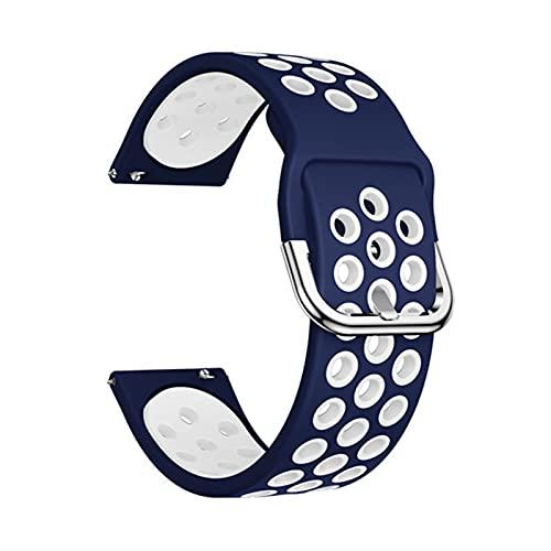 XXY Silicone Original Sport Watch Band para Samsung Galaxy 42mm / Activo/Activo 2 Smart Watch Correa Strap Pulsera De Reemplazo 20mm Correa (Color : Midnight Blue White, Size : 20mm)
