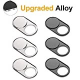 Cimkiz Wb01+Wb02 Webcam Cover Slide, Metal Magnet Web Camera Cover, for Laptops MacBook Pro Pcs Tablets Cellphone-for Protecting Your Privacy-Strong Adhesive-6 Packs(3Black+3Silver)